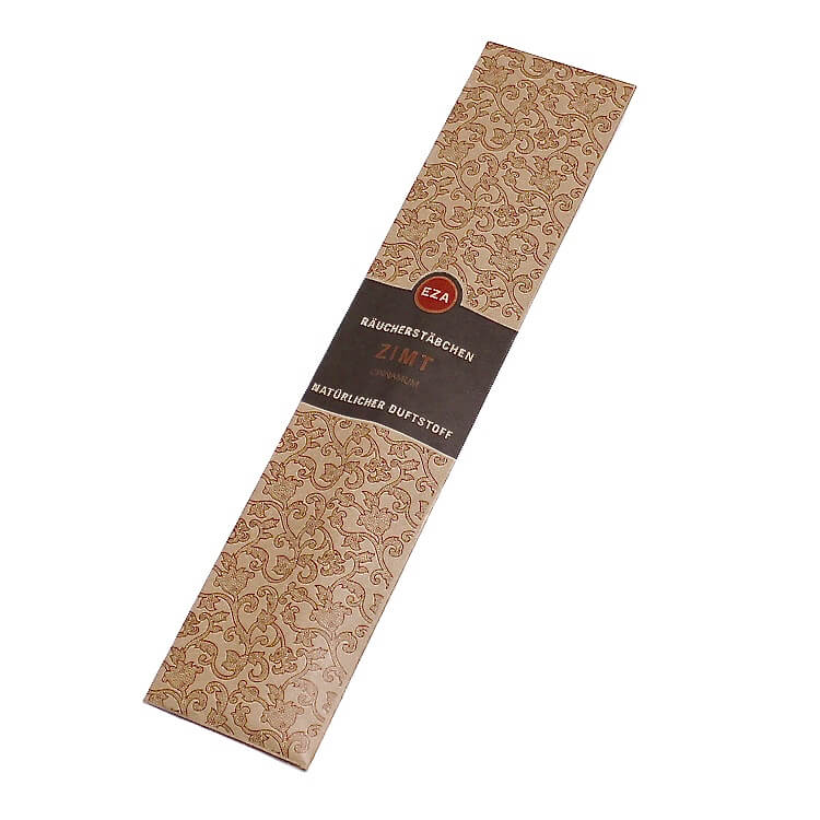 Rökelsestickor med kaneldoft. Endast naturliga & giftfria ämnen. Handrullade i Indien för Fair Trade.