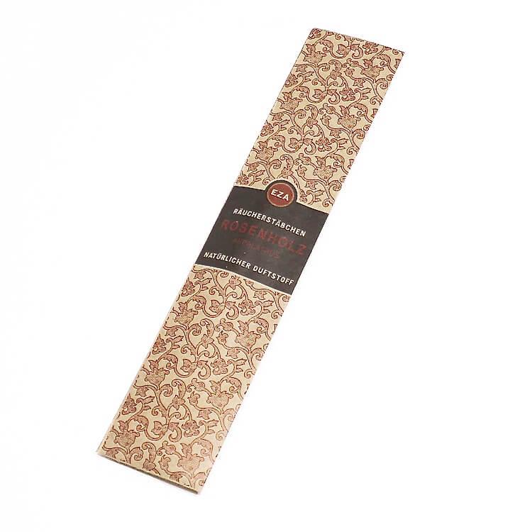10 naturliga rökelsestickor, med doft av rosenträ. Brinntid ca 40-50 min. Handrullade, Fair Trade