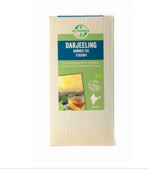 Darjeeling grönt te, ekologiskt & Fairtrade, löste i högklassig kvalitet, FTGFOP1.