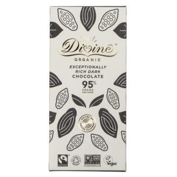 Divine Organic Exceptionally Rich Dark Chocolateär en mörk choklad från choklad-ön Sao Tomé utanför Västafrikas kust. Ekologisk & Fairtrade.