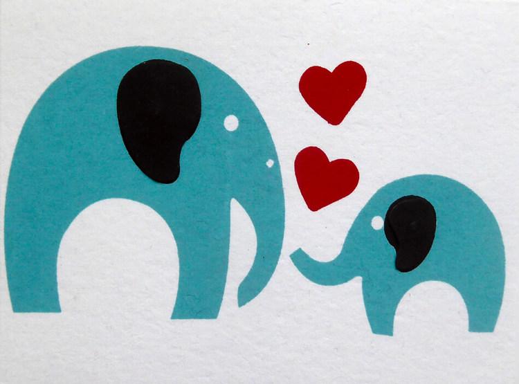 Brevkort av vitt bomullspapper, med kuvert. Motiv Älskar dig, stor & liten elefant. Bangladesh, Fair Trade