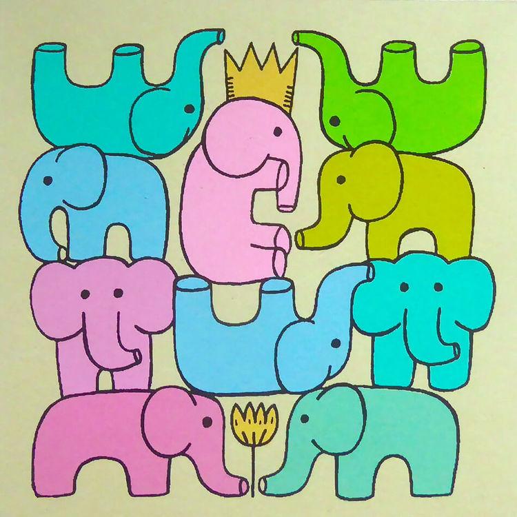 Brevkort m kuvert, glada elefanter, hampapapper