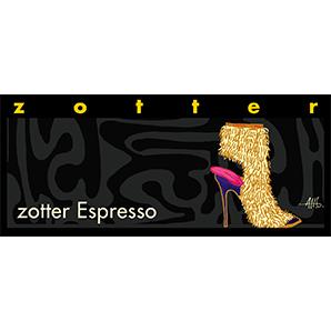 Zotter Espressso en ljuvlig mörk choklad med stark espresso. Överdraget med intensiv kakaosmak. handgjort, ekologisk, Fair Trade.