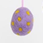 Handtovat prickigt påskägg i lila färg, lite större storlek. Prydnadsägg Afroart.