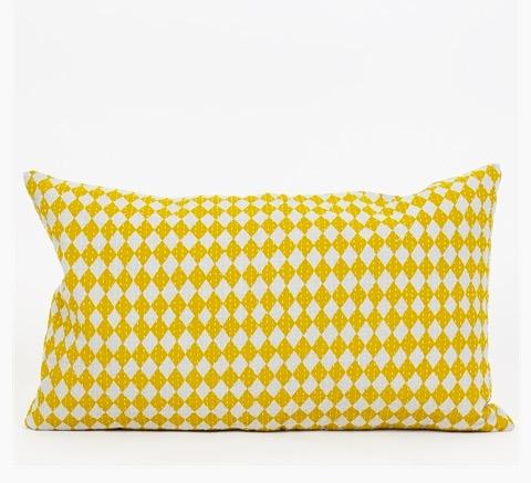 Kuddfodral 'Circus', ljusgrå/gul, quiltad, Afroart