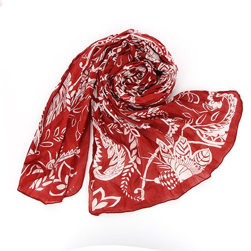 Sjal, scarf, bomull, röd/vit