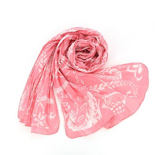 Sjal, scarf, bomull, rosa/vit