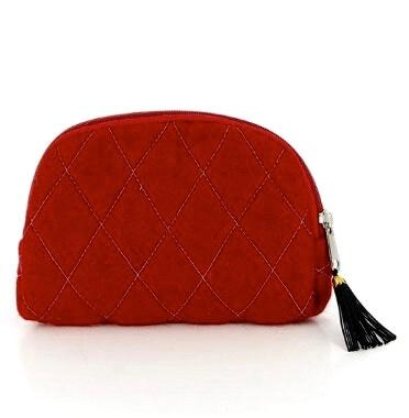 Klarröd sminkväska med innerfack. Handtovad för Fair Trade i Nepal. Azo-fri färg.