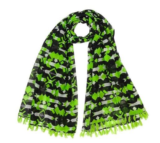 Sjal, scarf, pareo, ekologisk bomull, grön/svart/vit