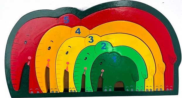 Pussel i trä, med ram, siffror 1-5, Elefanter
