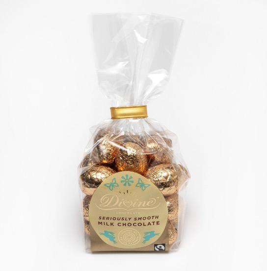 Divine små ägg av mjölkchoklad. Fairtrade-märkt.