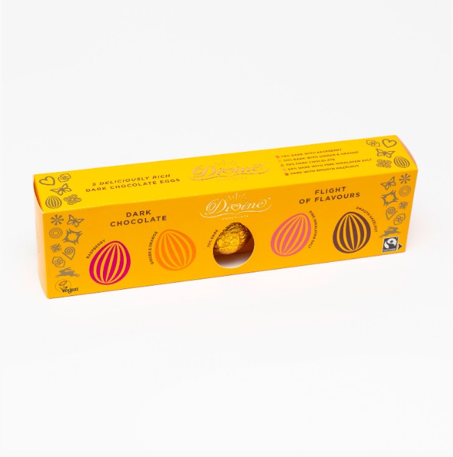 Divine påskägg av mörk choklad  5 olika smaker. Fin presentförpackning. Glad Påsk! Fair Trade.