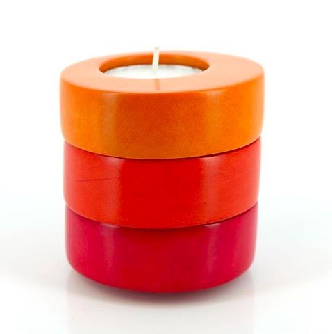 Värmeljushållare, set i 3 delar, olika färger, enkel och snygg design. Här kombinerade som 1 i 3.Fair Trade från Kenya.