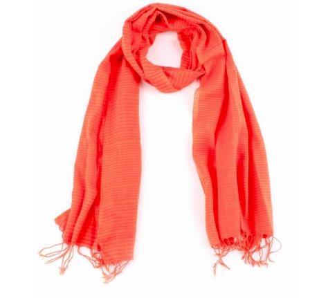 Sjal, scarf, bomull, orange randig