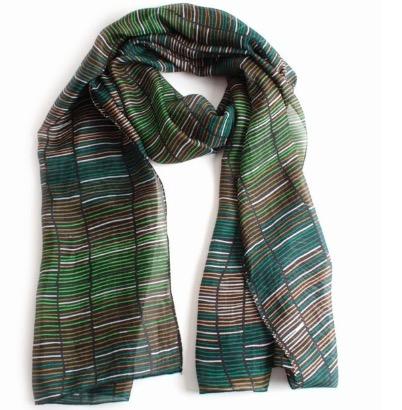 Sjal, scarf, siden, grön/svart/vit mönster