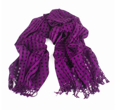 Sjal, scarf, siden/viskos, mörklila/svart