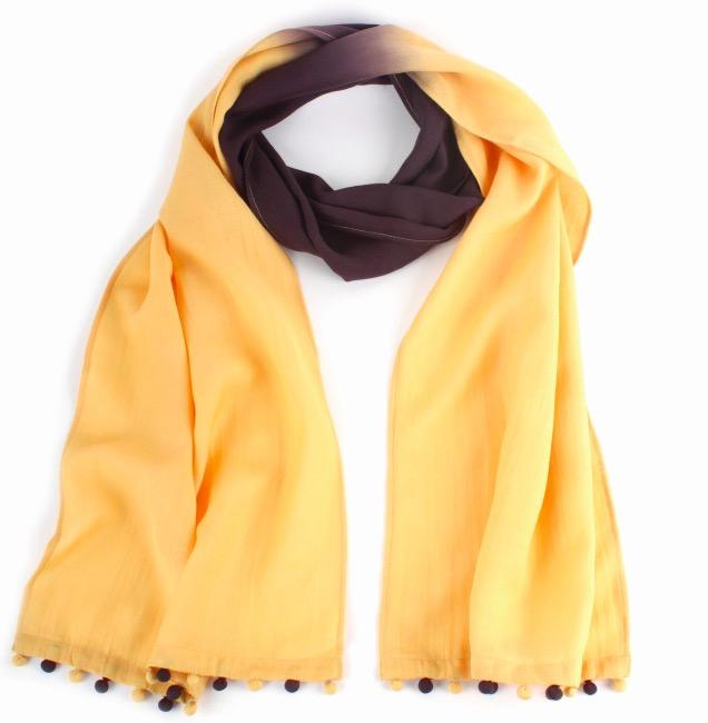 Sjal, scarf, ekologisk sojafiber, gul/brun