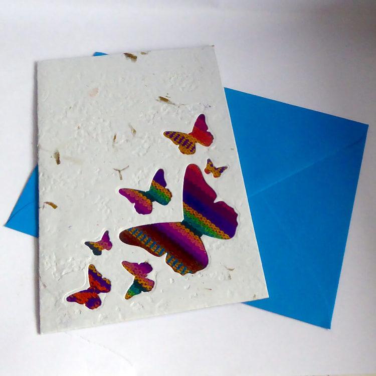 Brevkort, bananblad, handgjort, fjärilar, blått kuvert