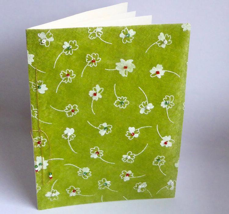 Brevkort, handgjort, pärlor: grönt
