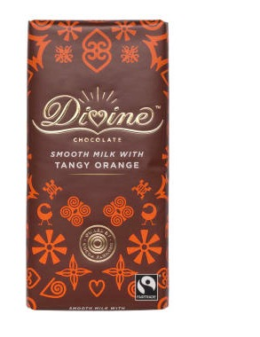 Divine Tangy Orange Milk Chocolate, en mjölkchoklad med apelsinsmak. Kakao från Ghana, Fairtrade.