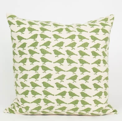 Kuddfodral 'Sparv' (Sparrow), grönt, quiltat, Afroart