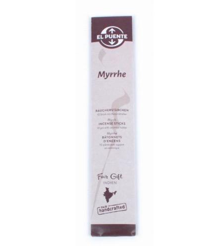 Naturliga, giftfria rökelsestickor, med doft av myrra (myrrhe). Handrullade i Indien för Fair Trade.