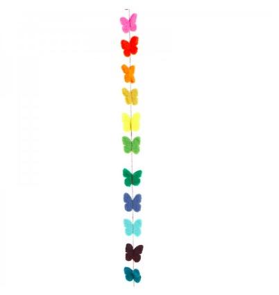 Girlang 150 cm med många små fjärilar i olika färger. Handtovad i Nepal för Fair Trade.