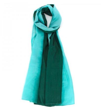 Sjal, scarf 'Batik', siden, silke, akvamarin/grön