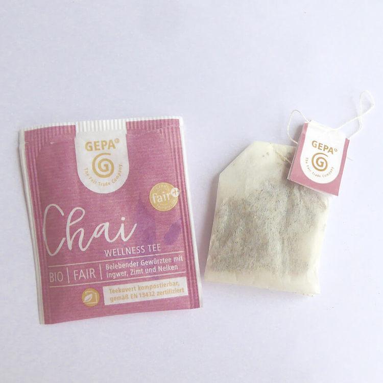 Traditionellt chai svart te, upplivande med aromatiska, exotiska kryddor. Hög kvalitet, tepåsar. Fair Trade och ekologiskt. odlat av småbönder, Small Organic Farmers Association.