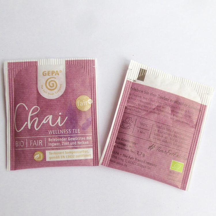 Traditionellt chai svart te i påse, upplivande med aromatiska, exotiska kryddor. Tepåsar, Hög kvalitet. Fair Trade och ekologiskt. Odlat av småbönder, Small Organic Farmers Association.