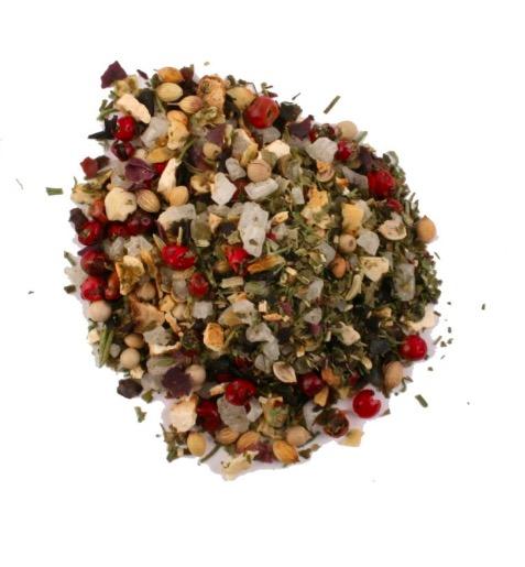 'Garden Route' är en smakrik kryddblandning med bl a rosépeppar, citrongräs, fänkålsfrön och alger (havssallad). Fair Trade från Sydafrika.