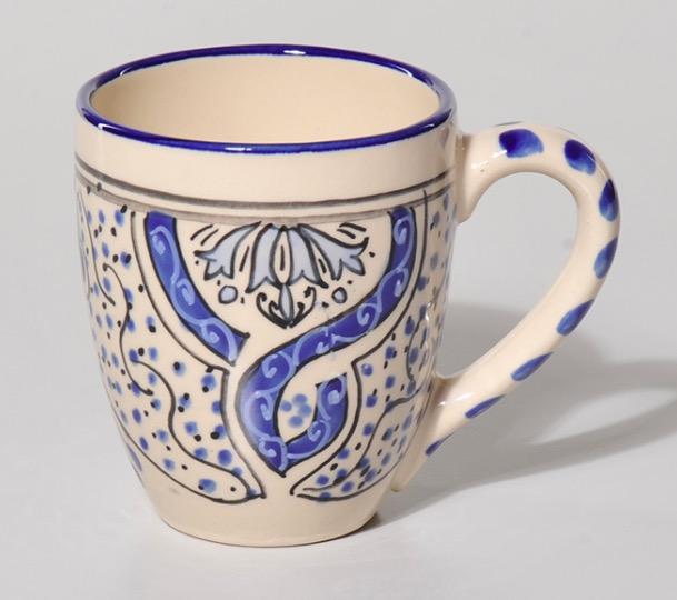 Mugg, stor, 'Nabeul', vit keramik
