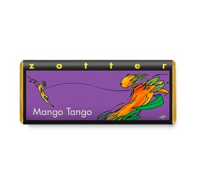 Zotter Mango Tango, exklusiv handgjord chokladkaka med ganache av mango och citron. Fair Trade, ekologisk, handgjord, bean-to-bar.