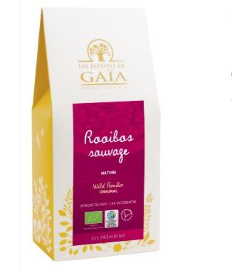 Wild Rooibos är rooibos har en rikare smak än vnalig rooibos. Fair Trade från Sydafrika, Les jardins de gaïa..