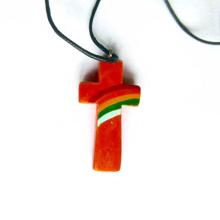 Halssmycke, Kors, tjälsten, orange, regnbåge