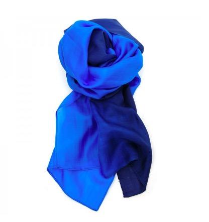 Sjal, scarf 'Batik', siden, silke, blå