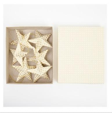Julhänge Top stjärnor, papper benvit med gullene prickar, presentask med 6 styck, Afroart
