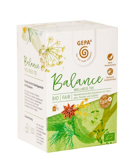 'Balance' är ett milt örtte som ger harmoni. En välsmakande örtblandning med stjärnanisens fina skärpa, uppfriskande pepparmynta & en lätt sötma från fänkål. Lakritsrot avrundar. Ekologiskt & Fair Tra