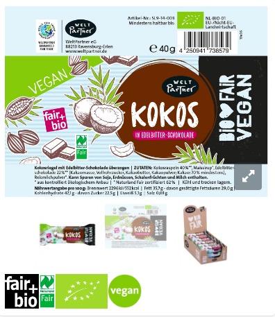 Stor, läcker kokosbit med överdrag av mörk choklad, ekologisk, fairtrade, vegansk. Intensiv kokossmak. Omslagspapper.