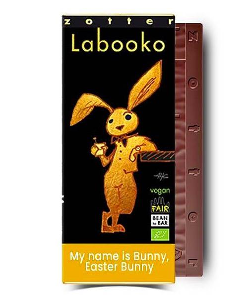 Zotter Labooko Easter Bunny är två mörka chokladsorter av utsökt kvalitet. Underbara kakaoupplevelser. Ekologisk & Fair Trade.