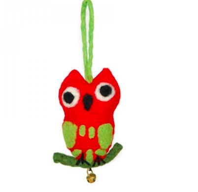 Deko-hänge, maskot, Uggla på gren, tovad