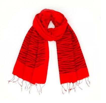 Sjal, scarf, siden/viskos, zebra röd, handvävd