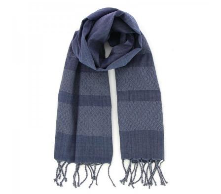 Sjal, scarf, bomull, mörkblå, handvävd