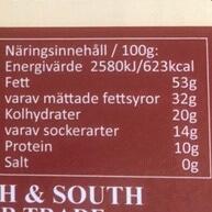 Närings/energideklaration Macsao Extra mörk guld choklad.