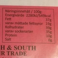 Näringsvärde/energideklaration Mascao mörk mandelchoklad.