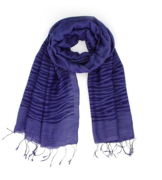 Sjal, scarf, siden/viskos, zebra mörkblå, handvävd