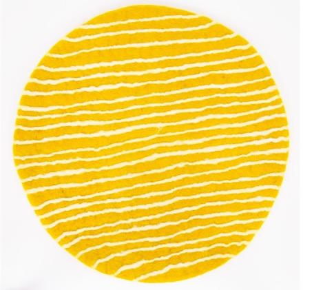 """Sittdyna """"Felt Stripe"""", gul-vit, tovad, Afroart"""