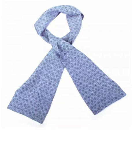 Plastrong, ascot, halsduk för män, siden, blå, handvävd