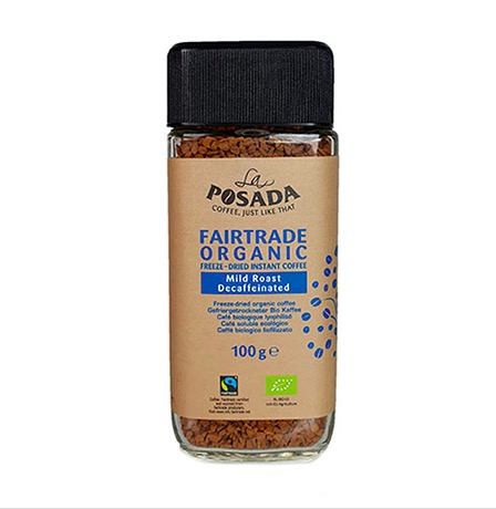 Posada, snabbkaffe, koffeinfritt, decaf, ljusrostat, ekologiskt & Fairtrade-märkt. Fyllig smak. Från Sackeus.