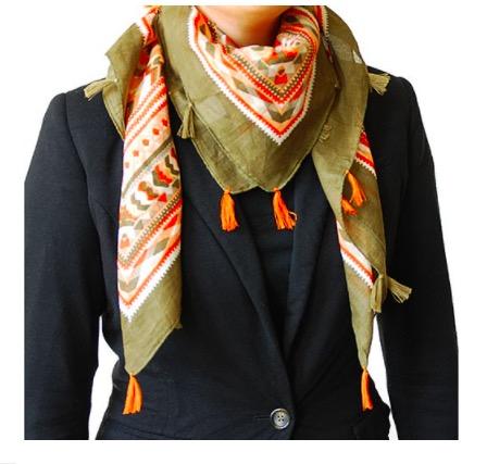 "Halsduk, scarf ""Quadro"", bomull, kvadratisk, orange-grön"